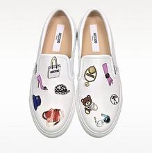 Thumb medium optic white leather slip on sneakers w pins