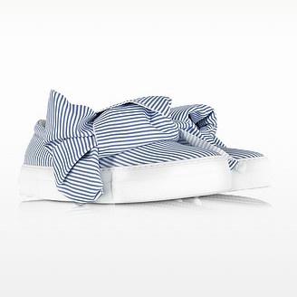 Skinny stripes bow cotton slip on sneakers skinny stripes bow cotton slip on sneakers 1