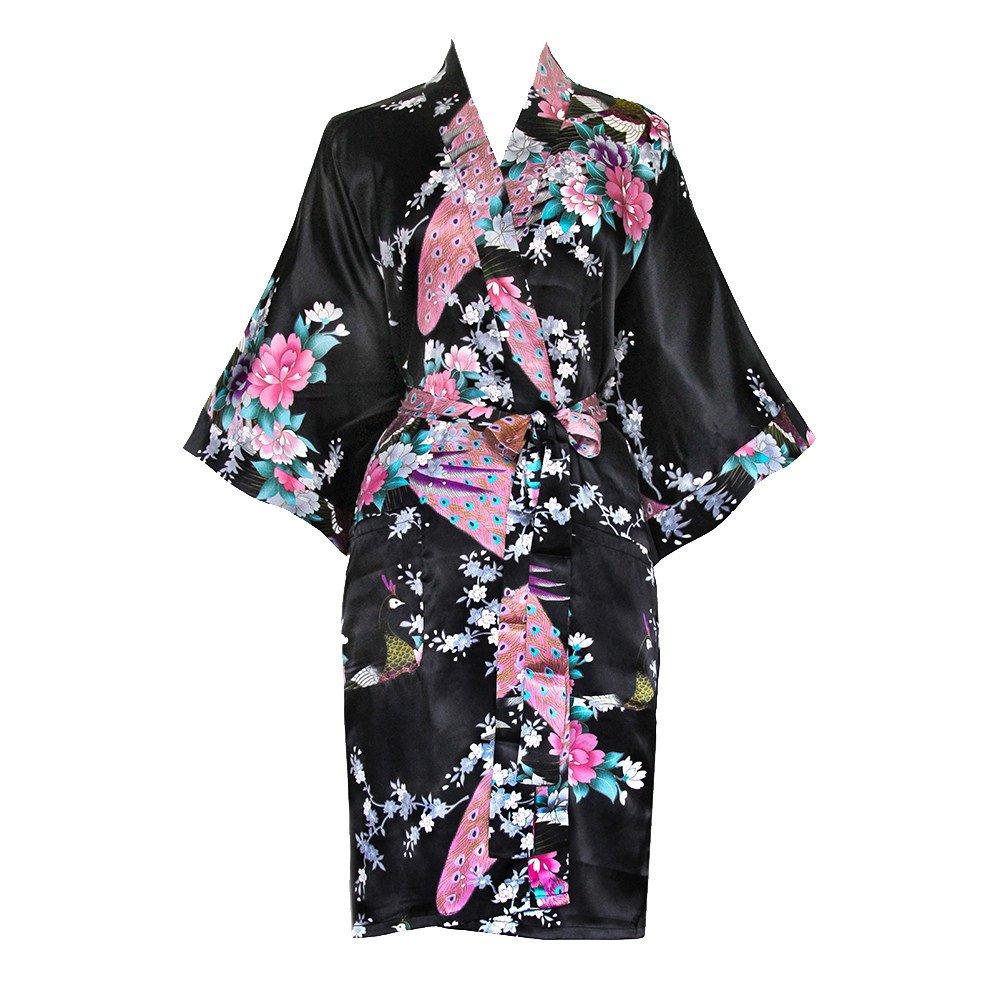 Old shanghai women s kimono short robe   peacock   blossoms 3