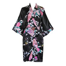 Thumb medium old shanghai women s kimono short robe   peacock   blossoms 3