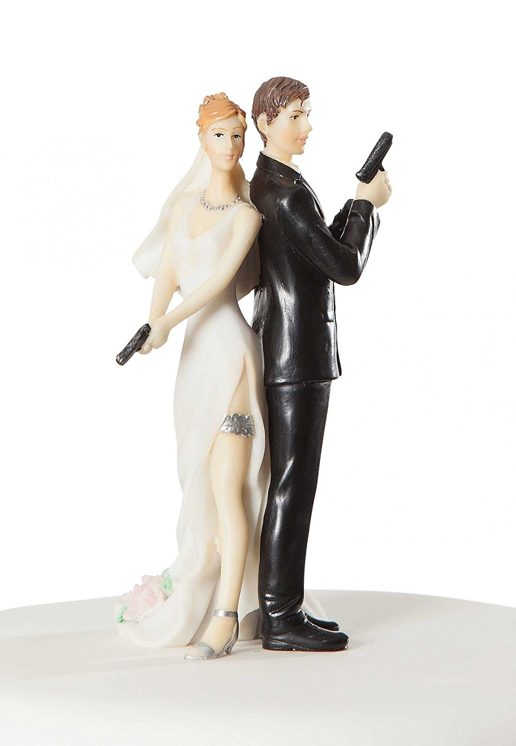 Super sexy spy wedding bride and groom cake topper figurine 1