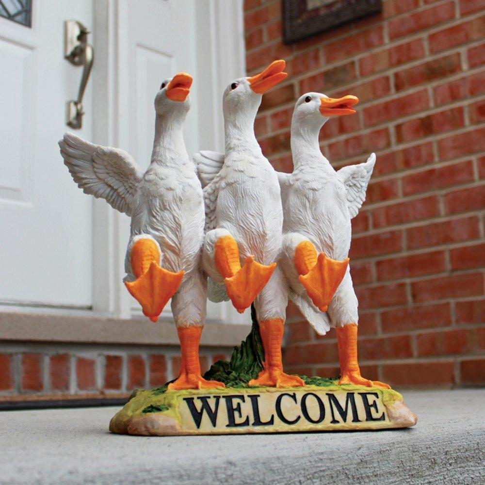 Design toscano delightful dancing ducks welcome sign