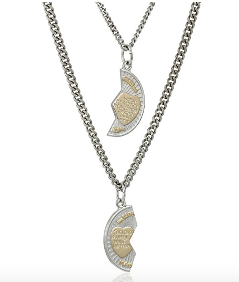 Sterling silver mizpah medal necklace with stainless steel chains