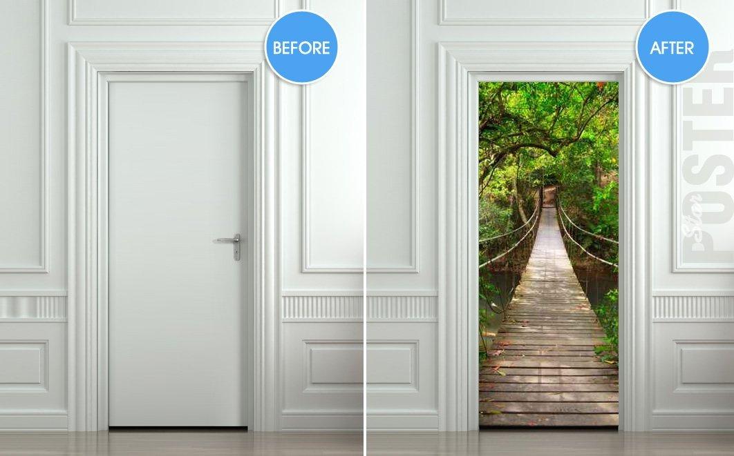 Giant door sticker rope bridge tropic forest 1