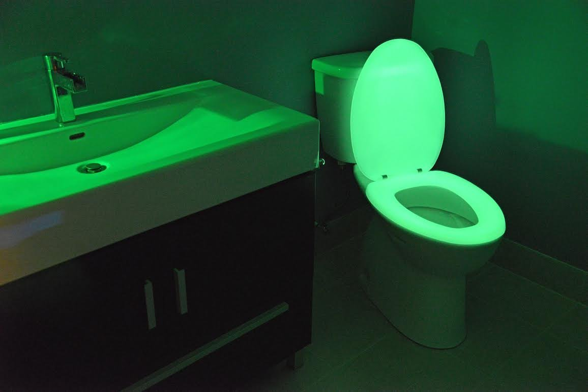 Glow in the dark neon toilet seat  neon green  elongated  3