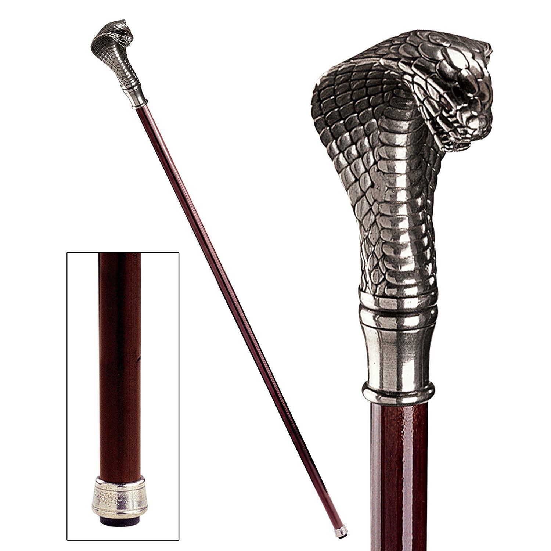 Design toscano cobra walking stick with pewter handle1