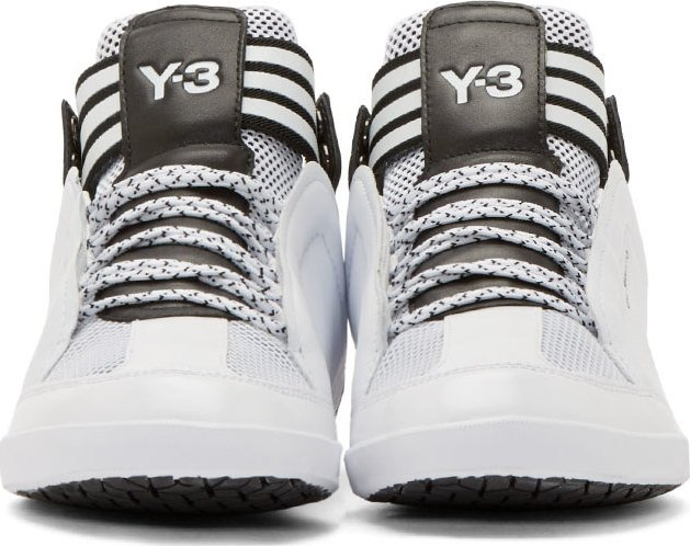 White kazuhiri mid top sneakers by y 31