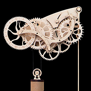 Hshg wooden mechanical clock detail