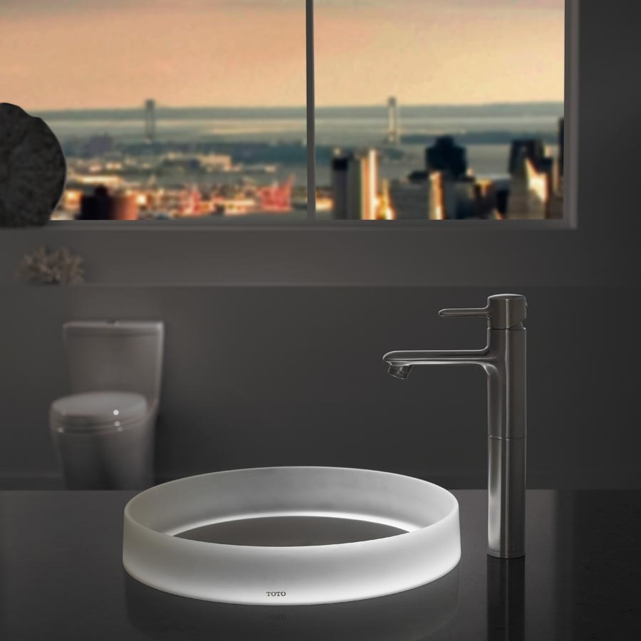 Toto llt152 63 wh luminist lighted round vessel lavatory with white drain cover  angelic white1