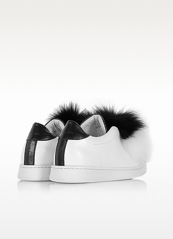Joshua sanders black white leather and fur pompon sneaker2