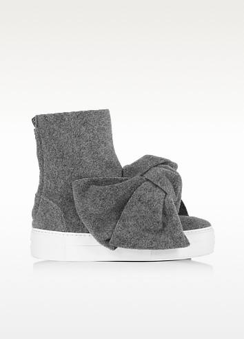 Melange gray high top bow sneakers1