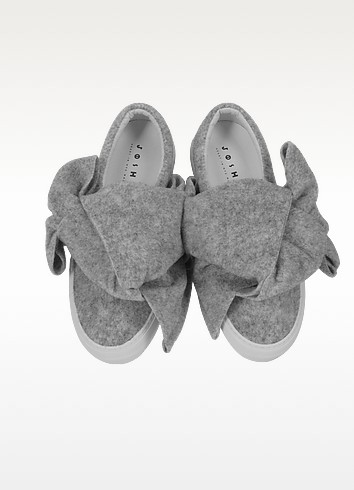 Joshua sanders bow gray wool blend slip on sneaker4