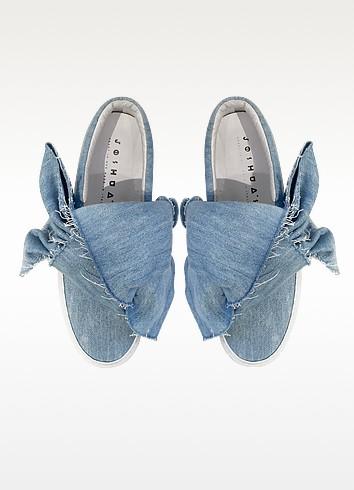 Joshua sanders azure denim bow slip on sneaker2