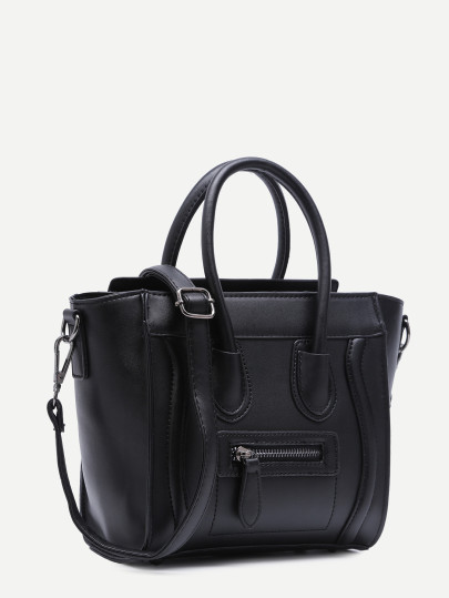 Black zip trim faux leather handbag with strap  2