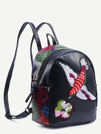 Black bird embroidered patchwork backpack2