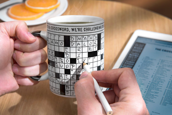 Solve crossword puzzles directly on the mug itself