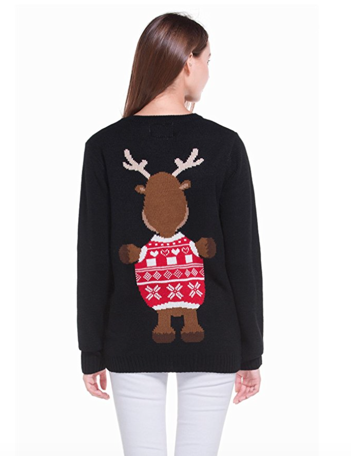 Women s christmas cute reindeer knitted sweater girl pullover4