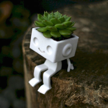 3dprinted cute robot succulent planter  sitting3