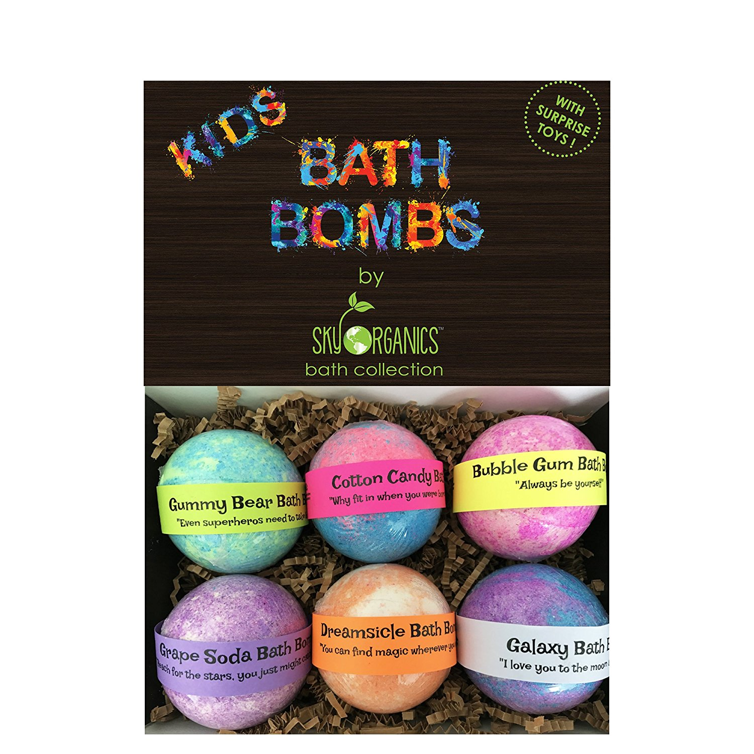 Kids bath bombs gift set with surprise toys3