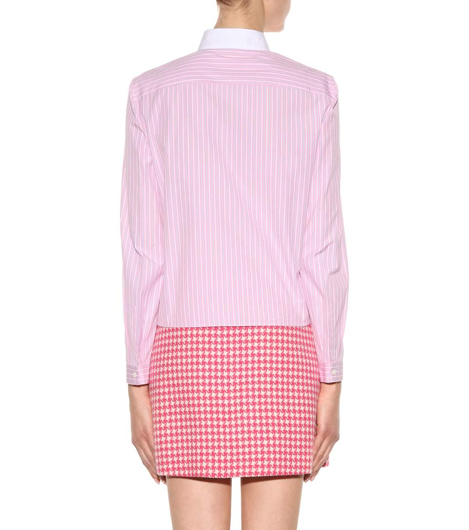 Prada embellished striped cotton shirt1