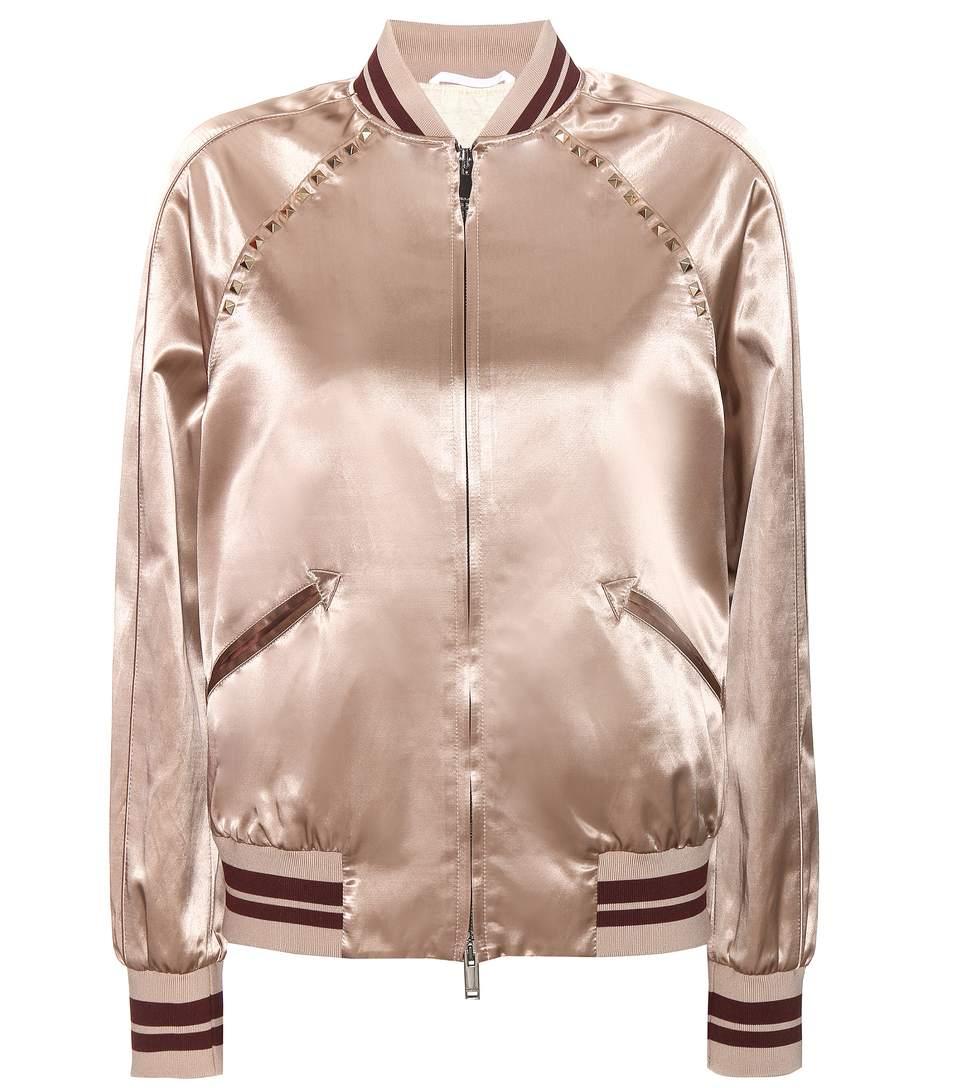 Valentino rockstud untitled satin varsity jacket2