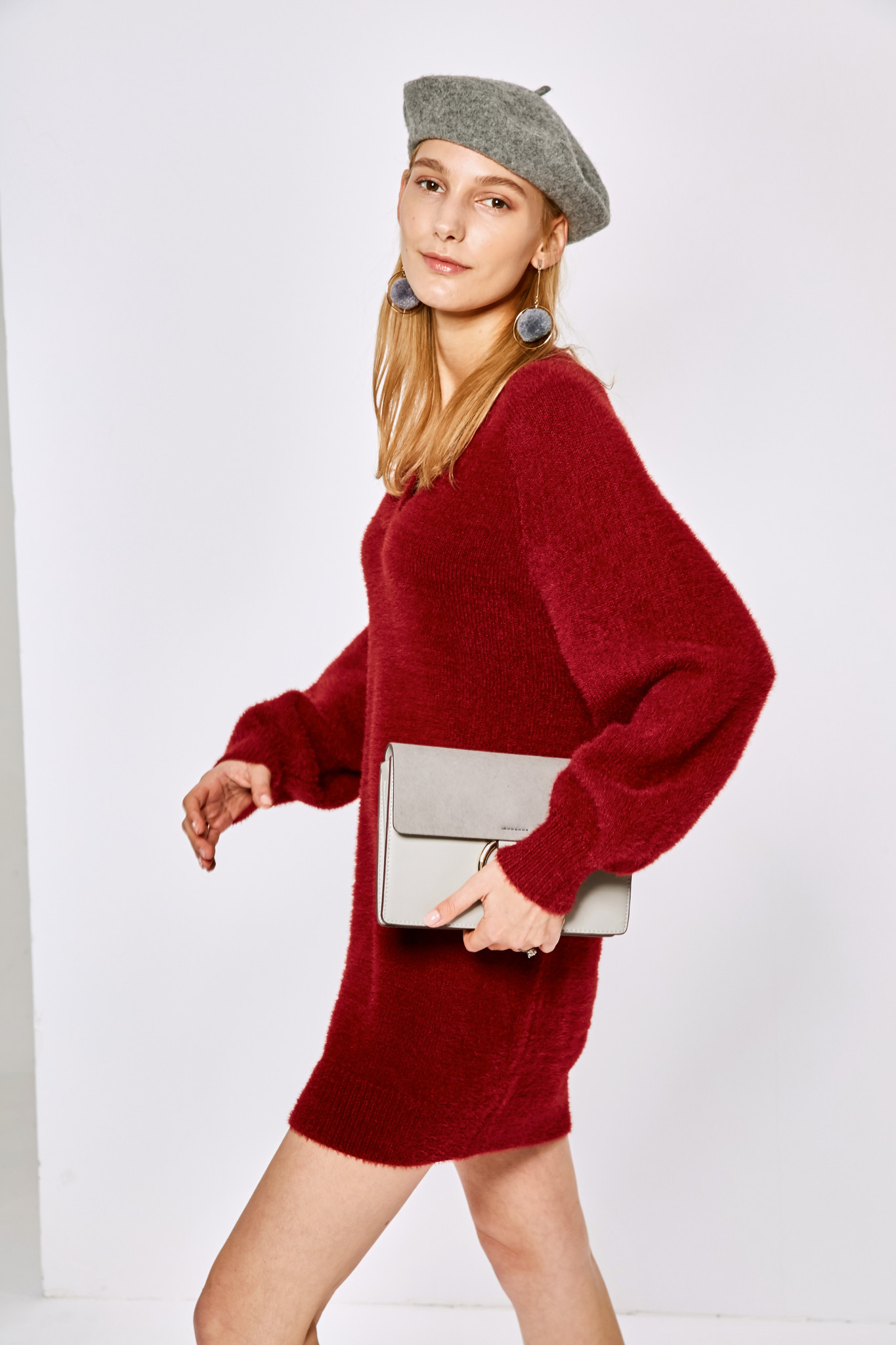 V neck loose sweater dress dr1399  3
