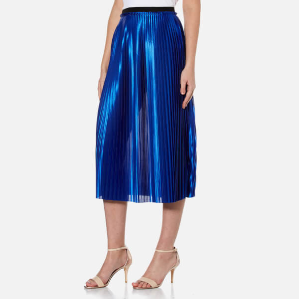 By malene birger women s miqiau pleated midi skirt   cobalt  2