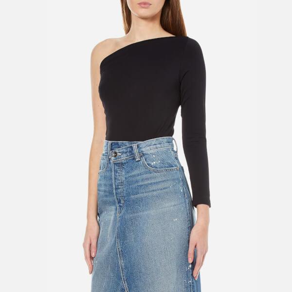 Helmut lang women s one shoulder long sleeve top   black  2