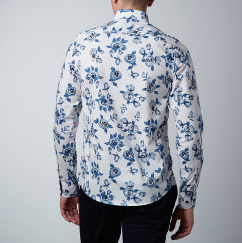 Abstract rose dress shirt    white   blue2