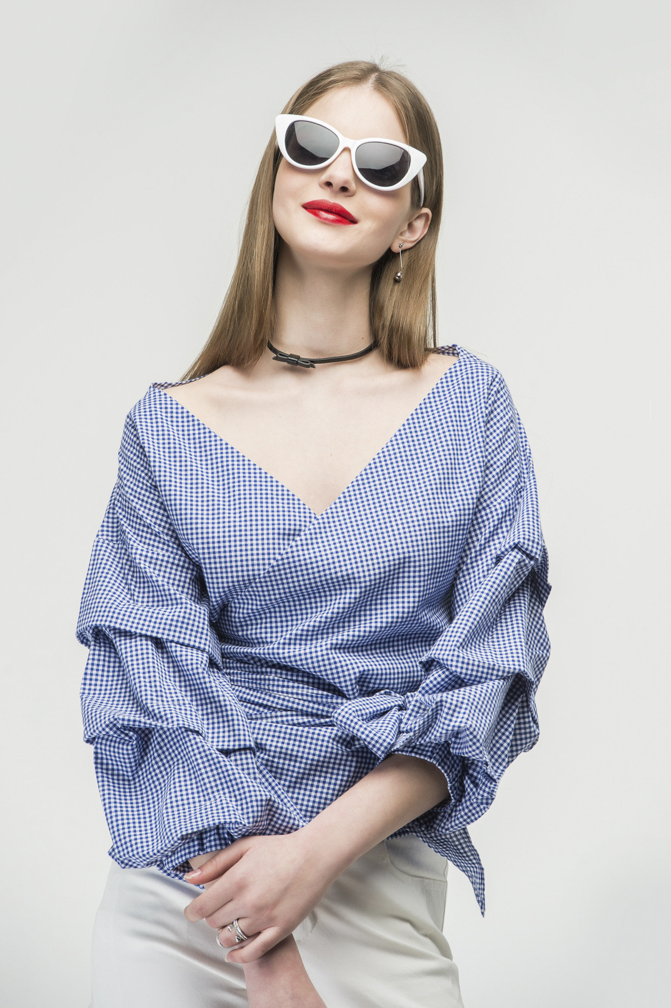 Ruched sleeve wrap blouse in blue 2