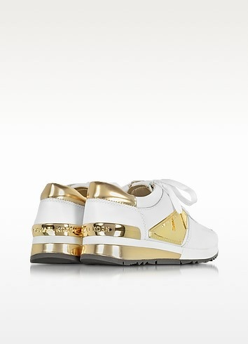 Allie white leather and gold plate wrap sneakers 2