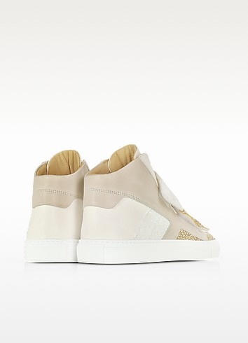 Gold  white and beige suede sneaker w glitter 2