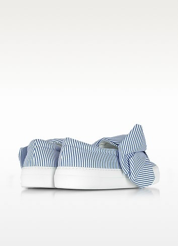Skinny stripes bow cotton slip on sneakers 2