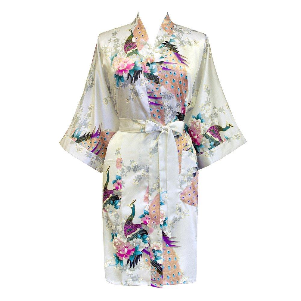 Old Shanghai Women s Kimono Short Robe - Peacock   Blossoms  40e605d66