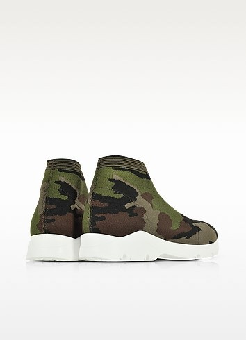 Camouflage stretch mesh high top women s sneaker 2