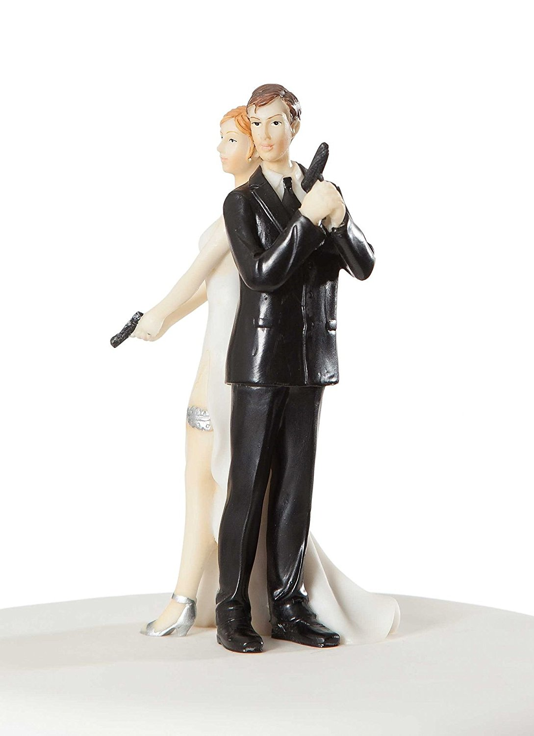 Super sexy spy wedding bride and groom cake topper figurine 2