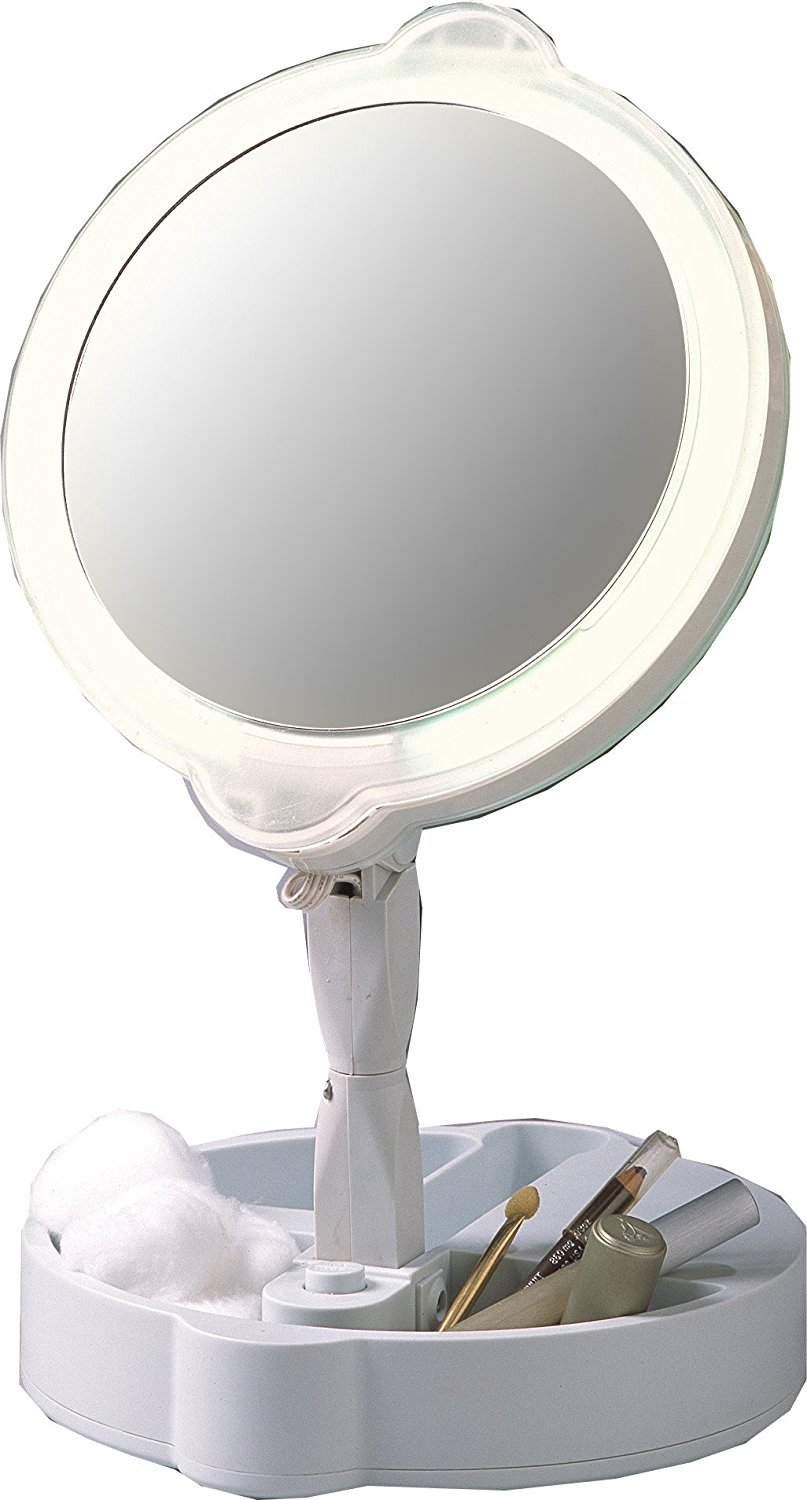Home travel 9x 1x folding lighted cosmetic mirror 2