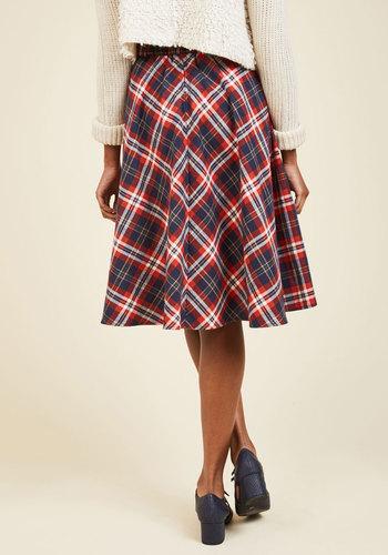 Potluck hostess midi skirt in red3