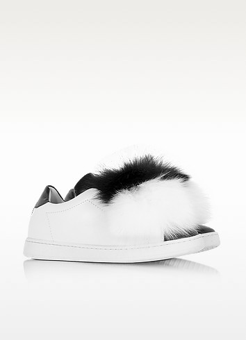 Joshua sanders black white leather and fur pompon sneaker3