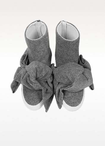 Melange gray high top bow sneakers4