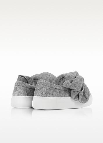 Joshua sanders bow gray wool blend slip on sneaker3