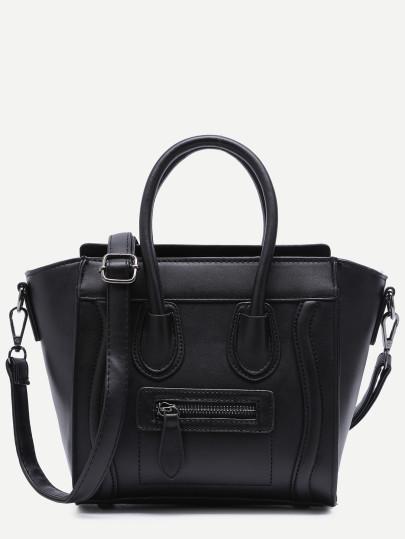 Black zip trim faux leather handbag with strap  1