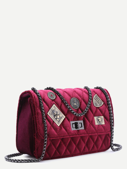 Maroon embellished boxy quilted crossbody chain bag3