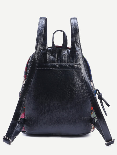 Black bird embroidered patchwork backpack3