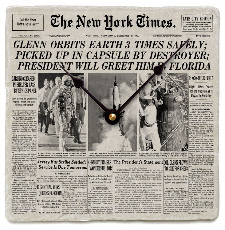 Your new york times front page on marble clock3
