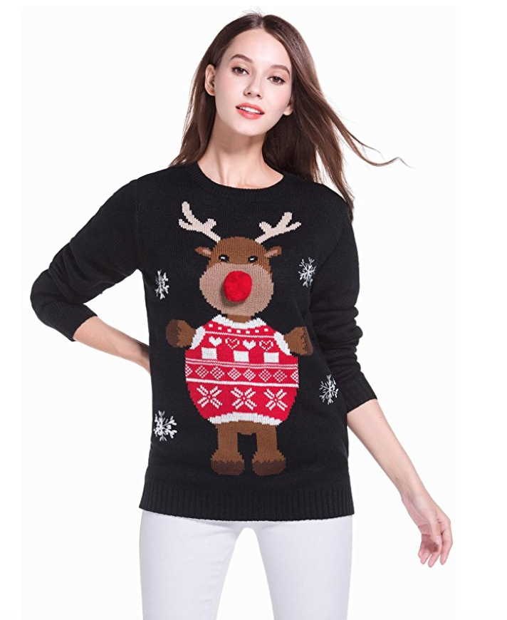 Women s christmas cute reindeer knitted sweater girl pullover