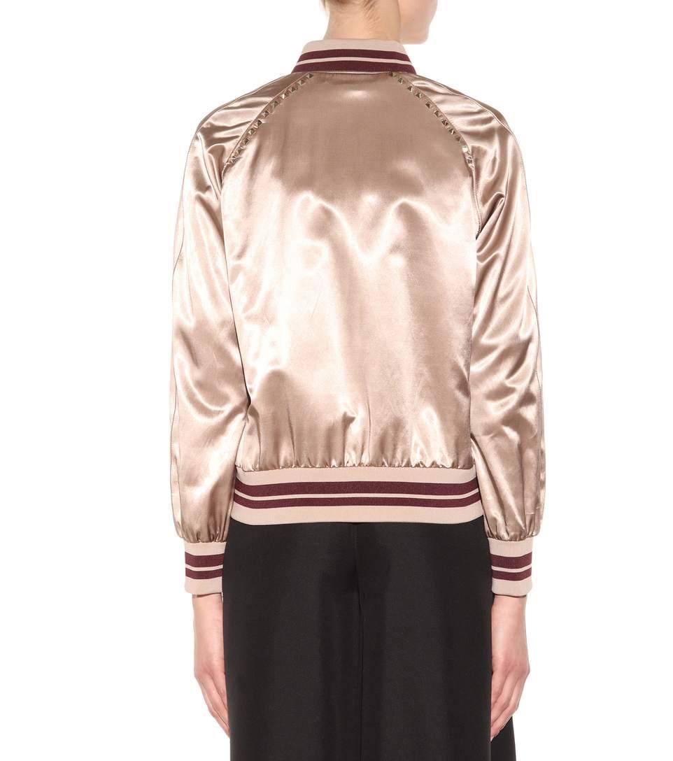 Valentino rockstud untitled satin varsity jacket3
