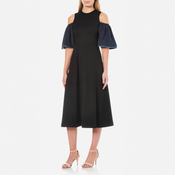 Ganni women s rogers cold shoulder dress   black total eclipse  2