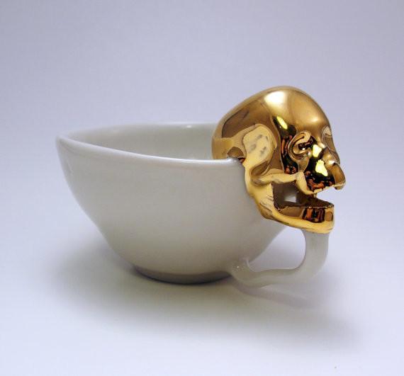 Golden skull teacup  3