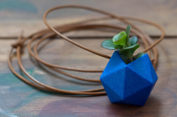Icosahedron wearable planter in coral  2